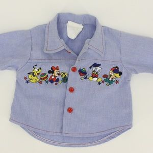 Vintage Disney Baby Mickey & Friends Button Up